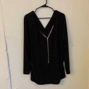 Lane Bryant Gold Chain Black Blouse Size 22/24
